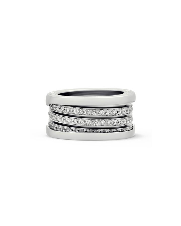 Estate B.zero1 18k White Gold Diamond Pave Ring,
