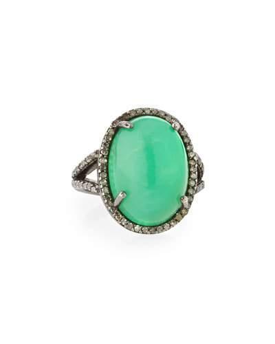 Chrysoprase & Diamond Cocktail Ring