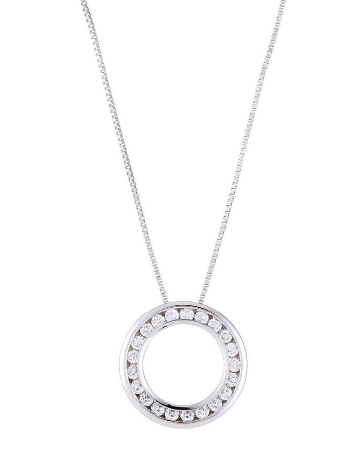 18k White Gold Diamond Circle Pendant Necklace
