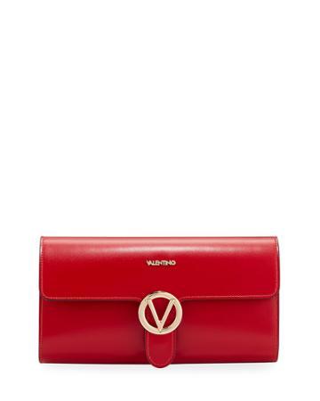 Mabelle Sleek Leather Medallion Clutch Bag