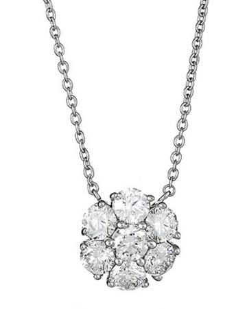 Neiman Marcus Diamonds Diamond Flower Pendant Necklace, 2.5tcw, Women's, White