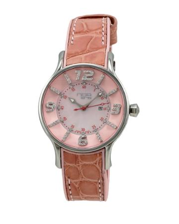 Alligator-strap Diamond-dial Watch, Pink