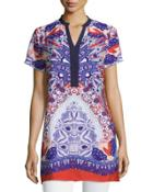 Printed Short-sleeve Tunic, Red