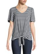 Striped Short-sleeve Tie-front Tee