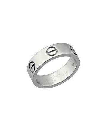 Estate 18k White Gold Love Ring,