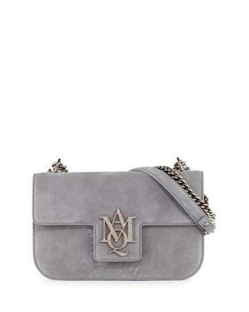 Insignia Suede Chain Satchel Bag, Gray