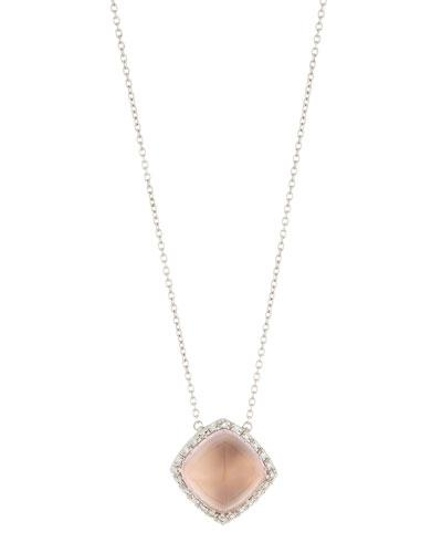 18k White Gold Square Rose Quartz Pendant Necklace W/ Diamonds,