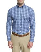Plaid Long-sleeve Sport Shirt, Dark Blue