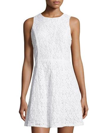 Sleeveless Lace A-line Dress, White