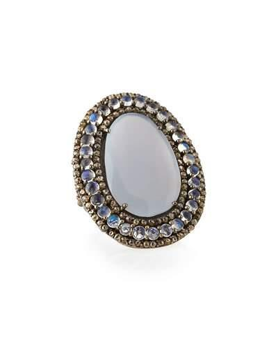 Chalcedony, Moonstone & Champagne Diamond Oval Ring