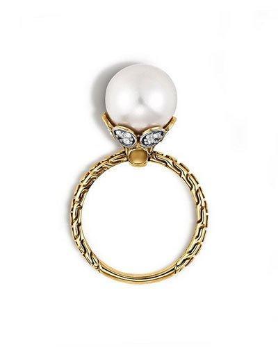 Dot 18k Diamond & Pearl Ring,