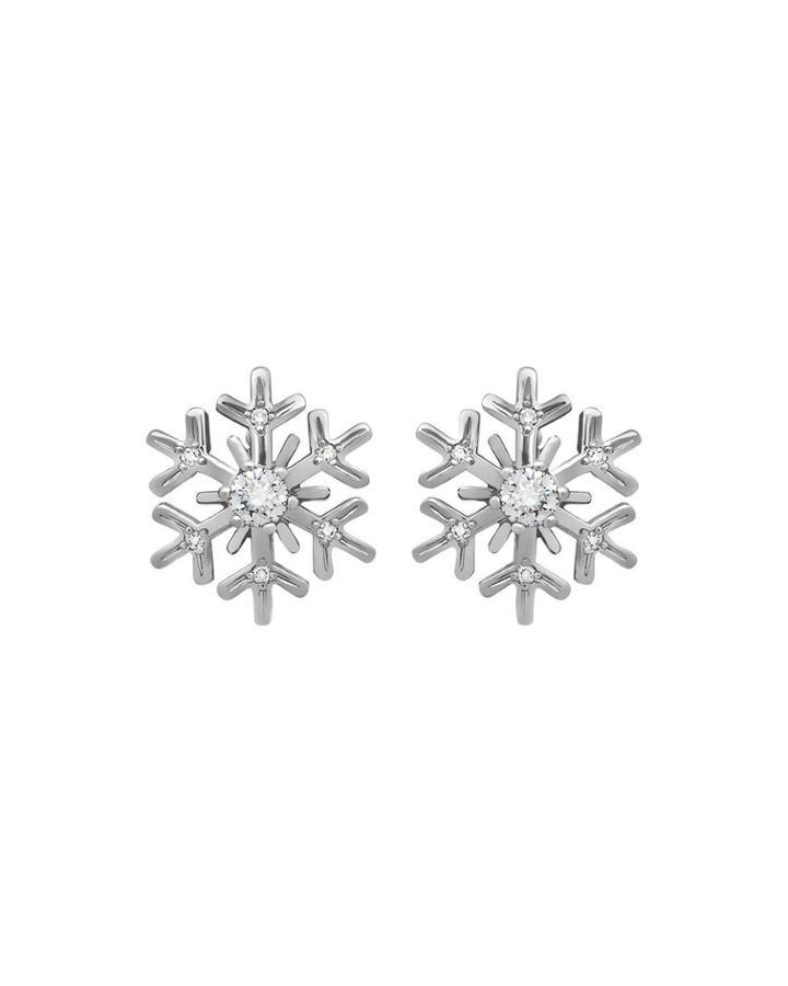 18k White Gold Diamond Snowflake Earrings