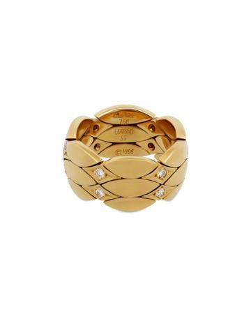 Estate 18k Yellow Gold 3-row Diamond Ring