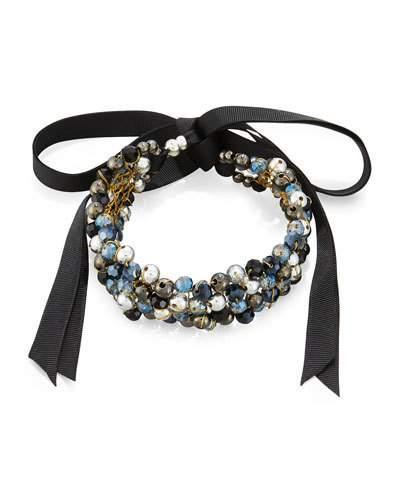 Beaded Ribbon Choker Necklace