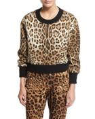 Leopard-print Top With Knit Collar & Cuffs