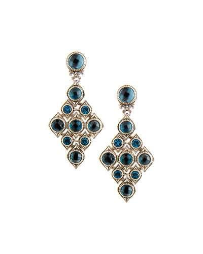Diamond-shaped Blue Topaz Drop Earrings