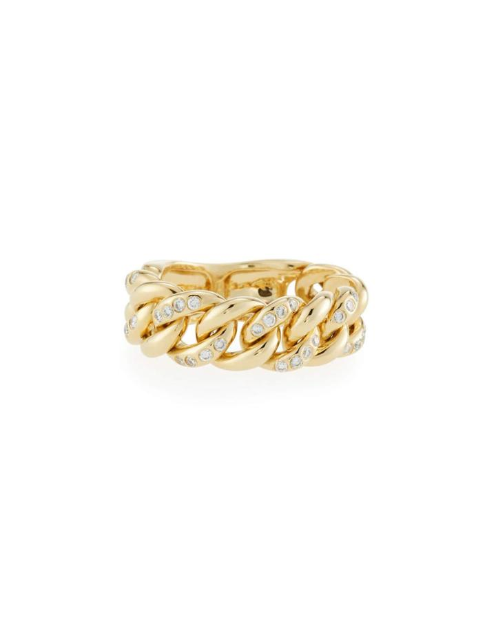 18k Gold & Diamond Chain Ring,