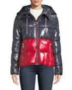 Hooded Shiny Colorblock Puffer Coat