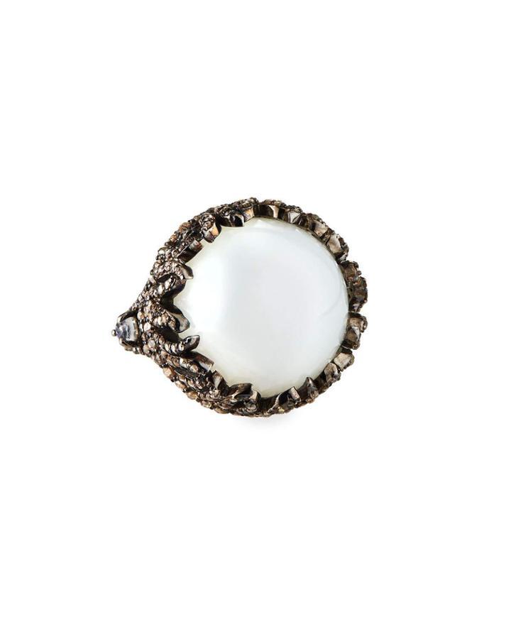 Round Moonstone Diamond Pave Ring,