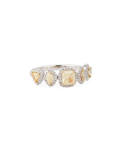 18k White Gold Ring W/ Fancy-cut Yellow & White Diamonds
