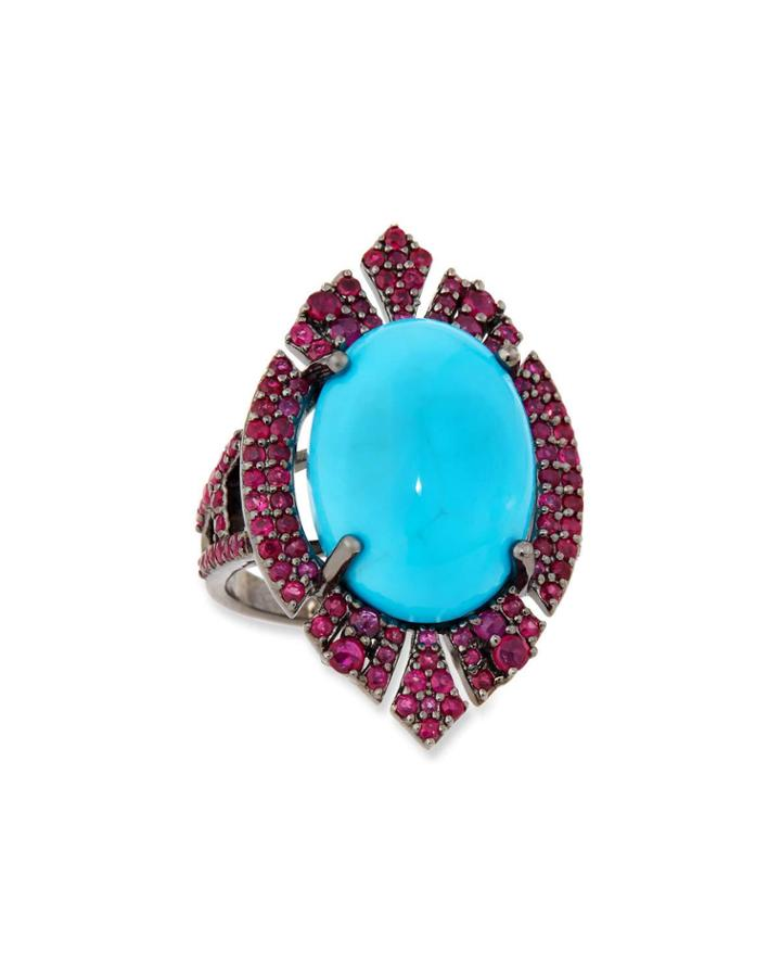 Black Silver Navette Ring With Turquoise & Ruby,