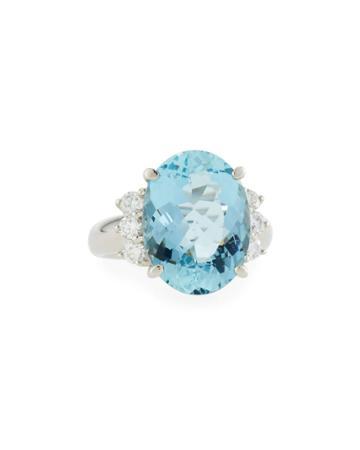 Estate Platinum Aquamarine & Diamond Ring,