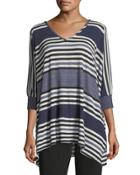 Striped Popover Top, Blue