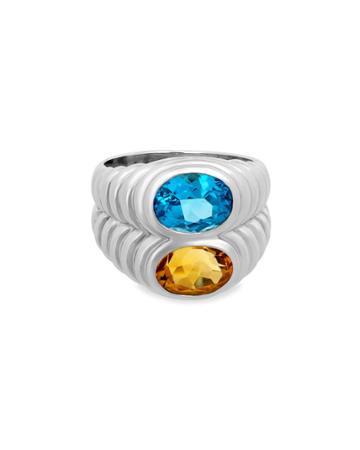 Estate 18k White Gold Topaz & Citrine Ring,