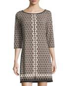 Tile-print Jersey Dress, Black Pattern