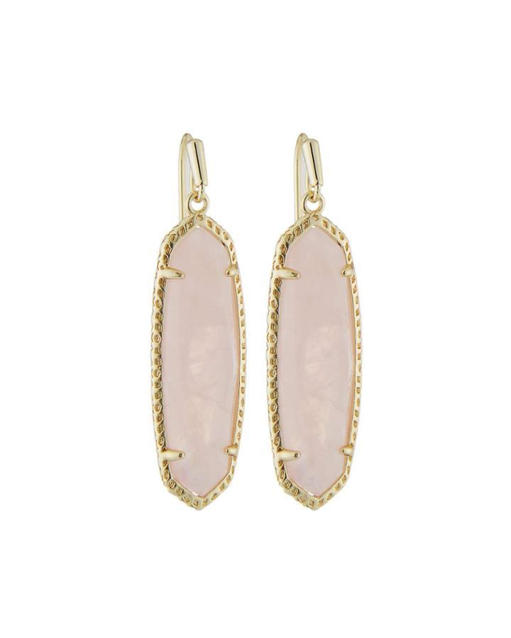 Layla Drop Earrings, Rose Quartz