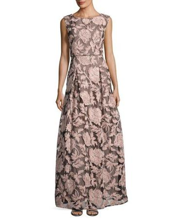 Floral-print Lace-tulle Gown, Black/pink