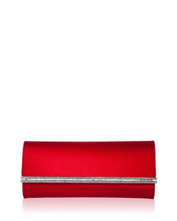 Tuxedo Crystal-trim Satin Clutch Bag