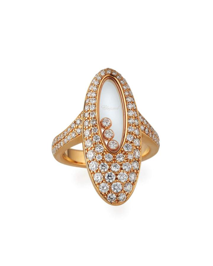 Happy Diamonds 18k Rose Gold Tapered Diamond Oval Ring,