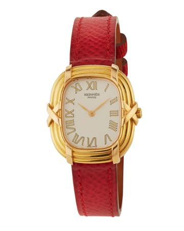 Ruban 18k Watch W/ Leather, Red/gold