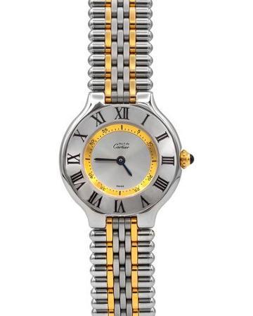 Pre-owned 18k 28mm Must De Cartier 21 Bracelet Watch, Two-tone