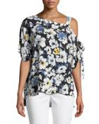 One-shoulder Floral Blouse