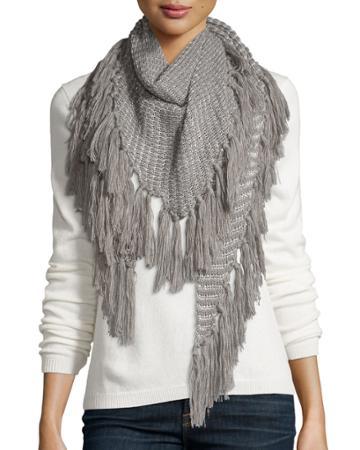 Neiman Marcus Holiday Triangle Scarf, Gray, Women's, Grey