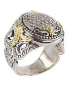 Asteri Ornate Round Pave White Diamond Ring,