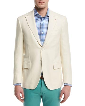 Textured Peak-lapel Two-button Blazer, Creme