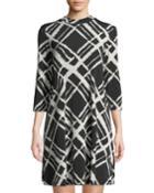 Printed A-line Knit Dress