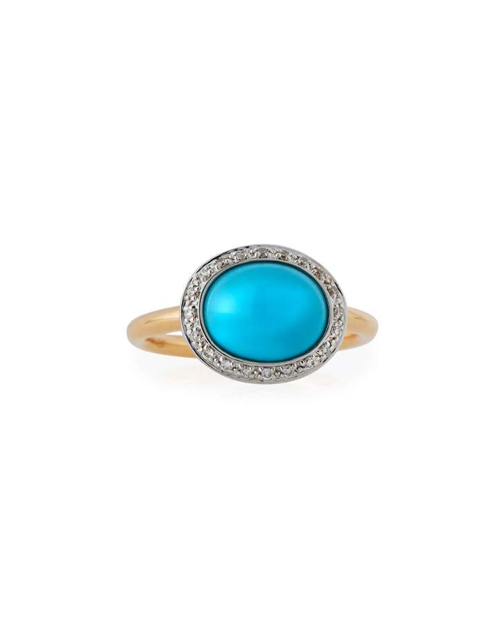 18k Oval Turquoise & Diamond Ring,