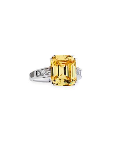 Emerald-cut Canary Cz Crystal Ring,