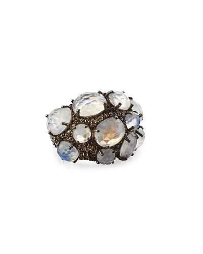Rainbow Moonstone & Gray Diamond Cocktail Ring,