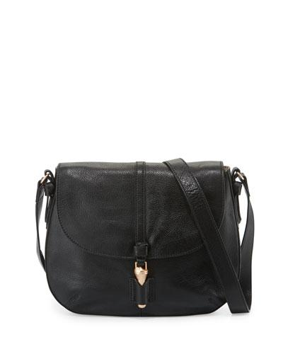 Mia Leather Saddle Bag, Black