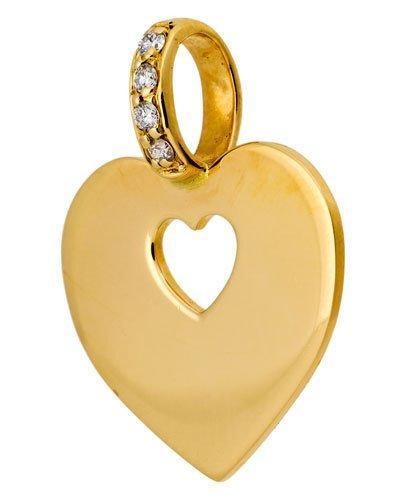 18k Yellow Gold Heart Secret Pendant W/ Diamonds