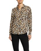 Leopard-print Button-down Blouse