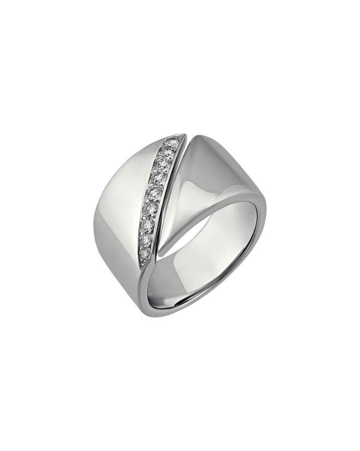 Estate 18k Wide Diamond Ring,