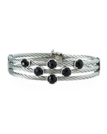 Triple-cable Bangle W/ Black Onyx