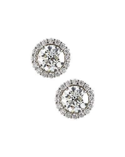 18k White Gold Diamond Stud Earrings,