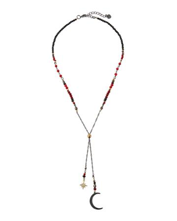 Crystal Moon & Star Lariat Necklace